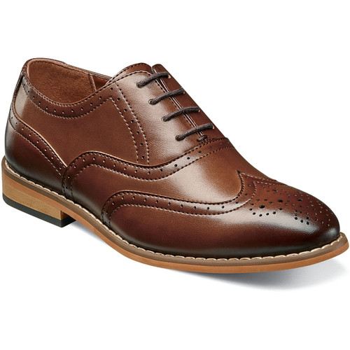 For style and versatility, you can‰Ûªt go wrong with a wingtip. This updated classic features intricate perfing details on the wing and collar and a stylish stacked heel. Even if you have to tie the shoe for him, the Stacy Adams Dunbar Wingtip Oxford will have any boy looking like the man of the house. Durable man-made upperSynthetic liningsFully cushioned insoleNon-leather outsoleThis is a child's size shoe, not an adult style
