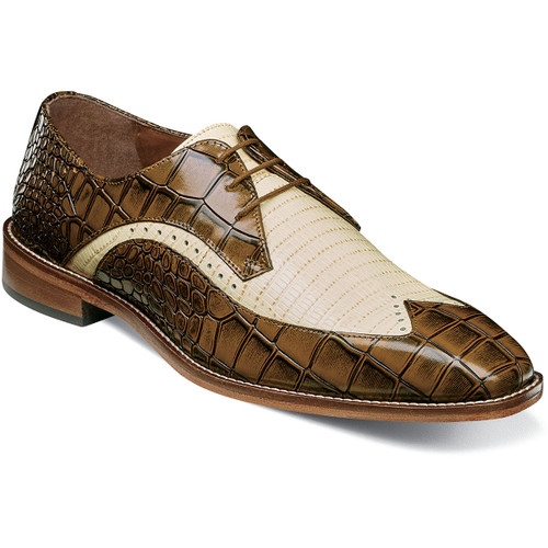 The colors, the two-tone upper, the combo croc and lizard print, the sleek profile, the perfing details, the genuine leather sole, the modern chiseled toe‰Û_ the Stacy Adams Trazino Leather Sole Wingtip Oxford brings it all together in one stylish package. Croco and lizard print leather upperSynthetic liningsFully cushioned insole with Memory Foam for all-day comfortDurable leather outsole