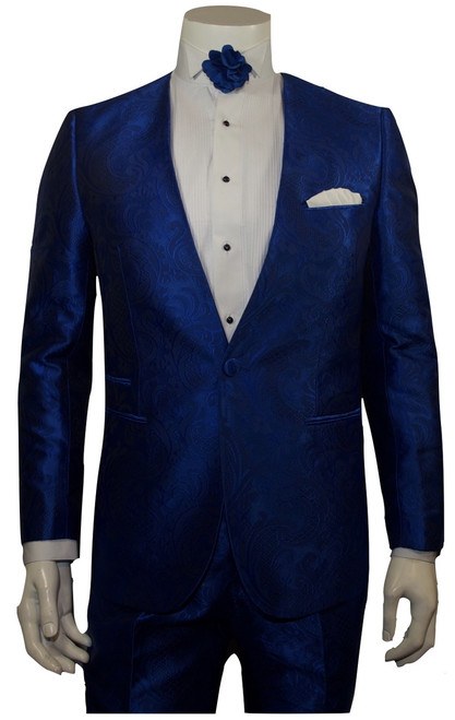 Blu Martini two piece suit is sleek subtle and everything you want in a suit. Single Breasted, One Button, Lapel-less CollarFlat Front, Half Lined, Expandable Waist Pants