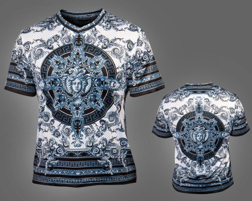 Dress Up Your Casual Style With Public Denim's Printed Fashion Crew Neck.