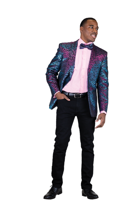 Blu Martini Iridescent Gold jacket is sleek subtle and everything you want in a jacket.   Single Breasted, One Button, Shawl Collar.  Gold Iridescent Navy.  Gold Available.