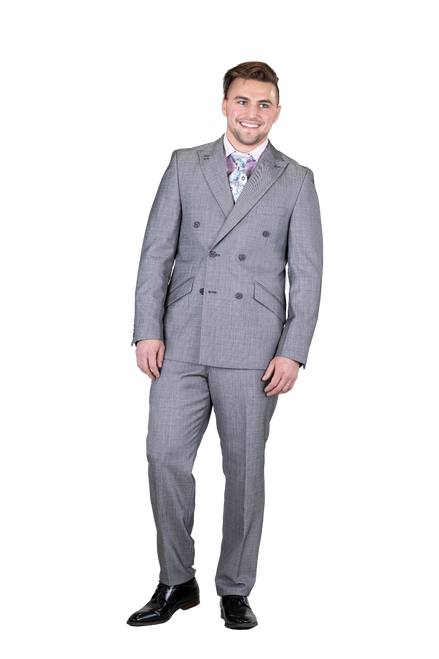 Falcone Is Featuring A Double Breasted Jacket. Suit Pieces Can Be Worn Together Formally Or Separately Mixed And Matched With More Casual Items. Jacket: Double Breasted, Six Button, Peak Lapel  Pants: Flat Front, Half Lined, Expandable Waist  Colors: Dark Grey, Blue, Dark Gold  Sizes: 38-56R 40-56L  Fabric: Striated Solid 87% Polyester 13% Rayon
