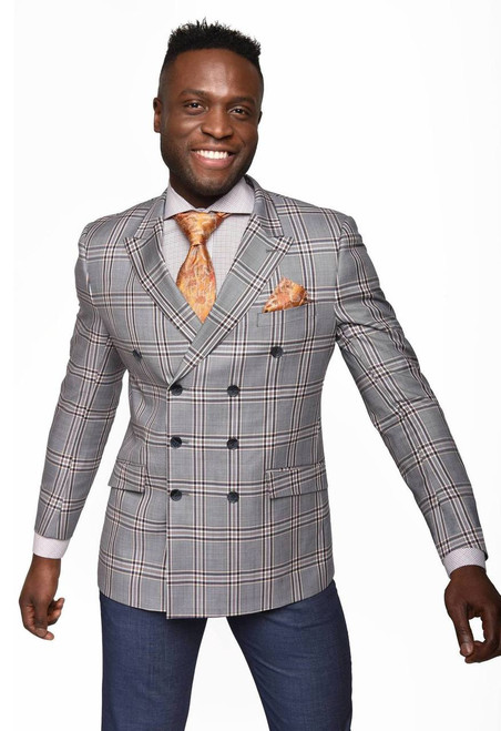 Rizzo's Indigo+ Clay plaid jacket has a high button stance, a medium width lapel, and a comfortable cut. Ideal for the man that exudes strength balanced with edge. Coordinating solid color pants complete the Rizzo suit.  ● Classic Fit ● 8 x 3 button Double breasted jacket with peak lapel ● Ticket pocket ● Double vent back ● Single pleat pant in lightweight indigo color fabric