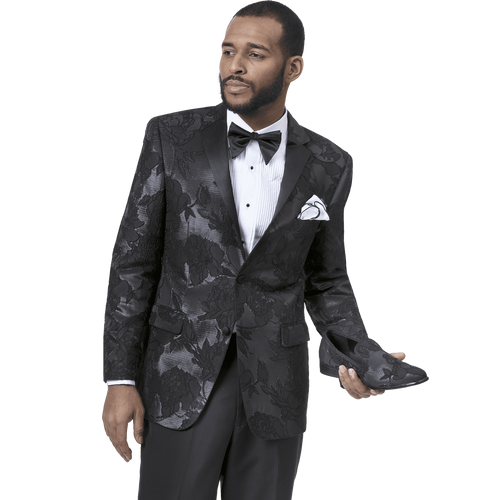 E. J Samuel's one button jacket has a high button stance, a medium width lapel, and a comfortable cut. Ideal for the man that exudes strength balanced with edge. Coordinating solid color pants complete the suit.  One button all black peak lapel jacket. Enriched in a floral print background. Prices are exclusive to online sales.