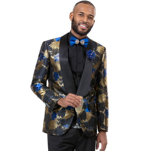E. J Samuel's one button jacket has a high button stance, a shawl lapel, and a comfortable cut. Ideal for  the man that exudes strength balanced with edge. Coordinating solid color pants complete the suit.  One button all black shawl lapel. Enriched in royal/gold background. Prices are exclusive to online sales.