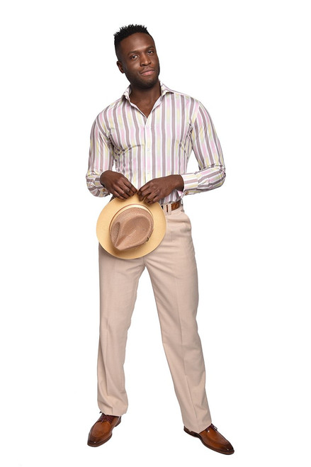Ombre Stripe Shirt  The spectrum of positive colors fill the broad stripes of our attention-grabbing printed cotton shirt.  100% Cotton printed fabric Trim Fit Wide Spread Collar French Square Cuff Placket Front  Tie sold separately.
