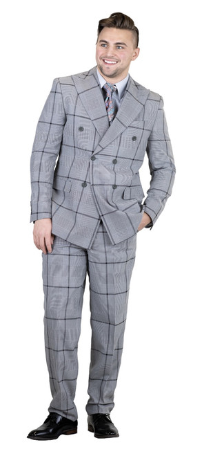 JACKET: Double Breasted, Six Button, Peak Lapel  PANTS: Flat Front, Half Lined, Expandable Waist  COLORS: Grey 721, Blue 752  SIZES: 36-56R 38-56L  FABRIC: Plaid 80% Polyester 20% Rayon