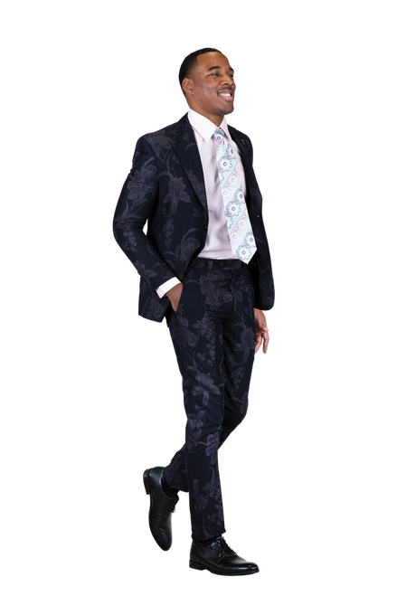 JACKET: Single Breasted, Two Button, Notch Lapel PANTS: Flat Front, Half Lined  COLORS: Black, Navy  SIZES: 34-52R 38-52L  FABRIC: Floral 85% Polyester 15% Rayon