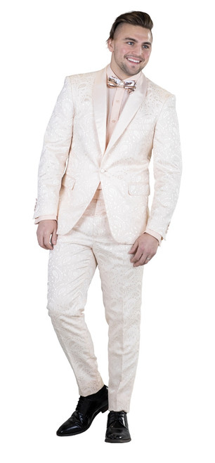 JACKET: Single Breasted, One Button, Shawl Collar  PANTS: Flat Front, Half Lined  COLORS: White 807, Toast 834, Raspberry 839 SIZES: 34-52R 38-52L  FABRIC: Paisley Tonal 97% Polyester 3% Spandex