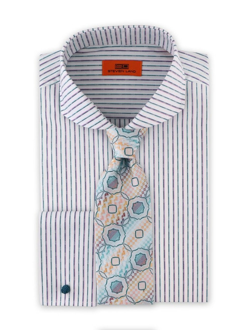 Fine stripes of contrasting seasonal colors are placed side by side, with an added detail: a small woven diamond detail for extra flavor. Fresh color combinations add variety to your wardrobe.   Cotton blend fabric Classic Fit Cutaway Collar French Square Cuff Fly Front Tie sold separately.