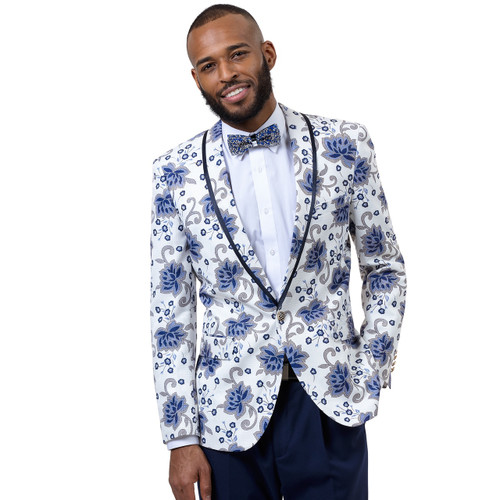 E. J Samuel's one button jacket has a high button stance, a shawl lapel, and a comfortable cut. Ideal for  the man that exudes strength balanced with edge. Coordinating solid color pants complete the suit.  This beautiful one button shawl jacket is the talk of the town. Speaks for itself. Prices are exclusive to online sales.