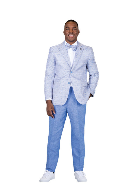 Stacy Adams 2 PC Set is sleek subtle and everything you want in a suit.   JACKET: Single Breasted, Two Button, Notch Lapel  PANTS: Flat Front, Half Lined, Expandable Waist  COLORS: Blue  SIZES: 36-56R 38-56L  FABRIC: Plaid Floral 100% Polyester