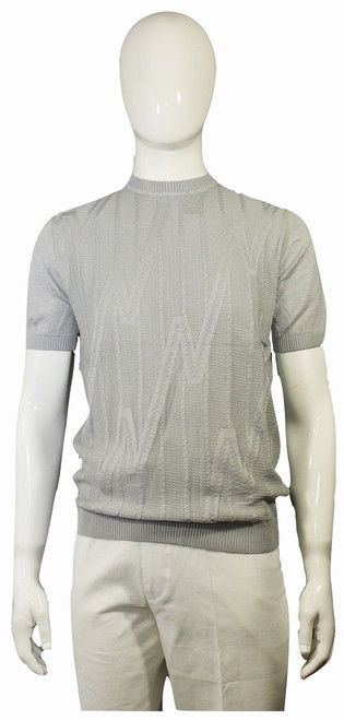 Crew Spring/Summer Knit - 1908  ALSO AVAILABLE IN WHITE, BLACK, SILVER  Retro Italian knit inspired crew neck shirt. The fit is relaxed and comfortable but yet dressy. Dress your best this spring & summer with our new collection.  STRAIGHT BOTTOM HEM WITH SIDE VENTS FULL KNIT SHIRT IMPORTED 50% COTTON 50% RAYON