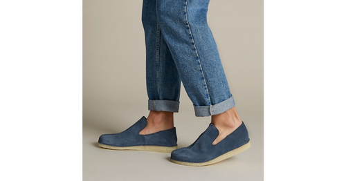 A laidback slip-on shoe with a back piece that folds down to offer another style option. With design cues from the iconic Desert Trek in the form of the central butt seam, this contemporary shoe is crafted from a deep blue suede that is unlined to offer breathable comfort. Using a hand-stitched sachetto construction method for maximum flexibility, this style is finished off with our signature crepe sole.  UPPER MATERIAL Leather  LINING MATERIAL Leather  SOLE MATERIAL Crepe