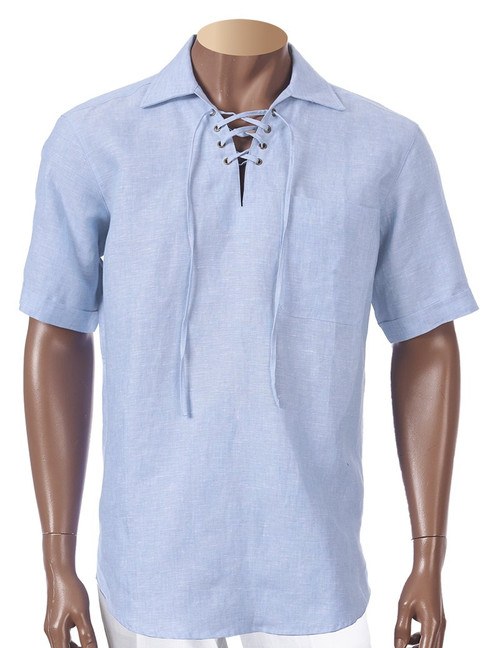 Linen Lacing Front Shirts by Inserch.  Keep it cool and stylish for the summer !  White, Lt Blue, Black, Jade
