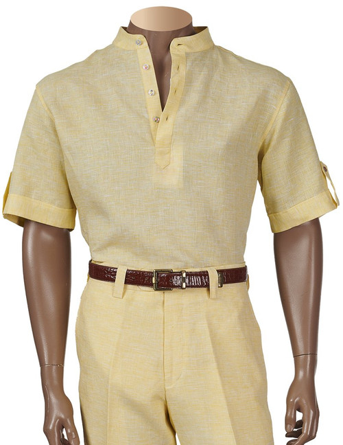 Linen Banded Collar Shirts by Inserch.  Keep it cool and stylish for the summer !  White, Oatmeal, Summer Yellow, Jade