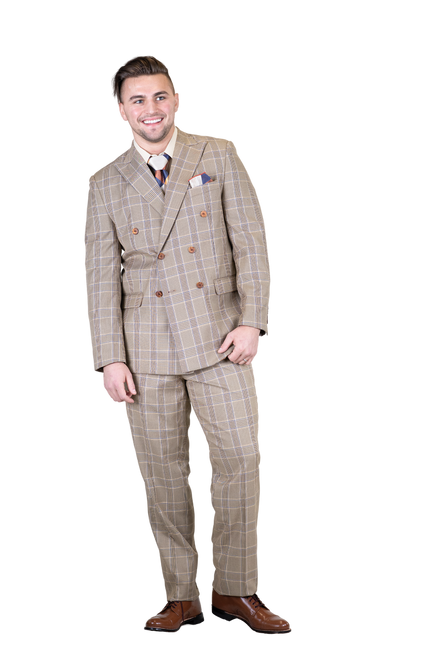 Stacy Adams 2 PC Set is sleek subtle and everything you want in a suit.   JACKET: Double Breasted, Six Button, Peak Lapel  PANTS: Flat Front, Half Lined, Expandable Waist  COLORS: Grey 721, Blue 732, Dark Tan 748  SIZES: 36-56R 58-56L  FABRIC: Plaid 85% Polyester 15% Rayon