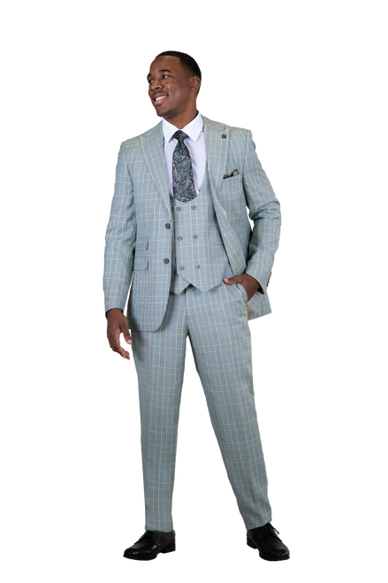 Stacy Adams 2 PC Set is sleek subtle and everything you want in a suit.   JACKET: Single Breasted, Two Button, Peak Lapel  VEST: Double Breasted, Six Button, Scoop Neck, Cloth Back  PANTS: Flat Front, Half Lined, Expandable Waist  COLORS: Teal Green 773, Brown 774  SIZES: 36-56R 38-56L  FABRIC: Plaid 80% Polyester 20% Rayon