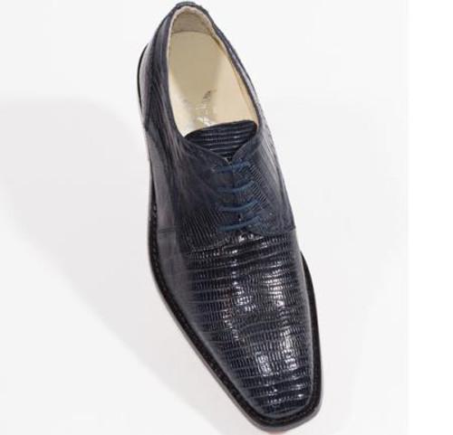 """Torino"" by David x a genuine lizard shoe in Navy."