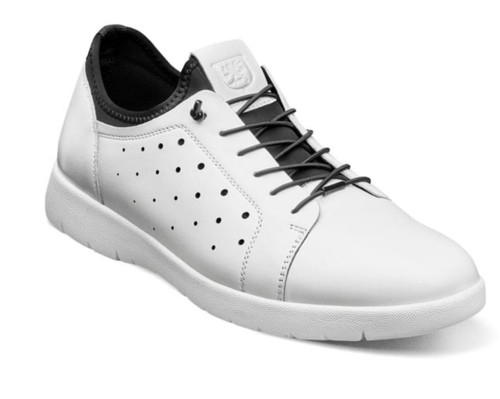With the Stacy Adams Halden Cap Toe Elastic Lace Up we have completely blurred the line between a dress oxford and athletic shoe. The perfect addition to any casual attire, it features a retro sneaker design with a burnished leather upper, modern cup sole, and the comfort of a fully cushioned footbed.