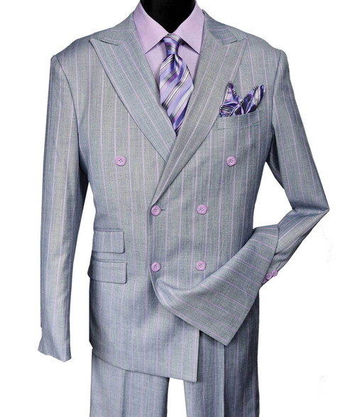 Stacy Adams classic Pin Stripe 6 button Peak Lapel Double Breasted Suit comes with flat front pants.    Founded in 1875, Stacy Adams has long been a part of American Fashion.  Distinctive styling and the highest in quality craftmanship have made Stacy adams part of our culture for generations.  In keeping with this tradition, Stacy Adams now brings you the very finest in men's Clothing, with the same exceptional quality and fashion detail that you have come to expect.  Stacy Adams.....for Men of Distinction!