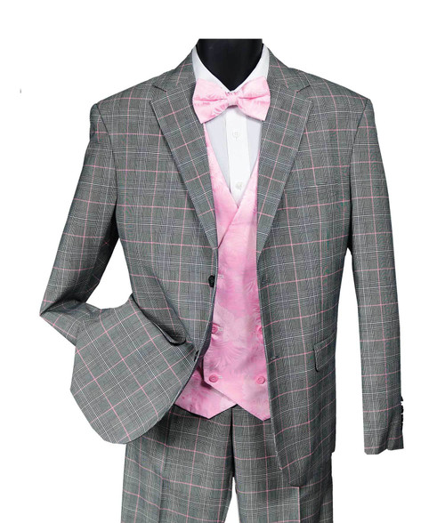The 9214 vested, by Falcone is a single breasted windowpane 3 piece men's suit.  The suit is paired with a pair of flat front pants with an expandable waist for added comfort.  The vest is a reversible 2 in 1 vest where one side is a paisley print and the other side is the same windowpane print as the rest of the suit.  - 3 Piece Garment                                - 2 Button Jacket w/ Peak Lapel     - Double Breasted Scoop Vest  - Flat Front Pants w/ Expandable Waist  - Unfinished Pant Legs  - Grey and Pink  - Dry Clean Only   Over 35 years ago the Falcone brand was created to appeal to the fashion minded man.  Finally a quality high-fashion menswear line at reasonable prices.  The falcone brand has constantly transitioned itself to stay ahead of the times.  It's a men's suit, sport coat and outerwear line with emphasis on interesting fabrications, patterns and colors.  Falcone's uniqueness is the unusual treatments and sophisticated touches.  Quality tailoring and fabrics appeal to the man who's looking to make a statement and not to be part of the crowd!