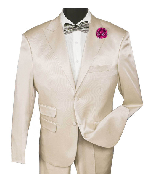 Blu Martini High fashion solid Slim Fit Stretch Satin Ivory 2 Button Single breasted peak lapel Jacket with matching satin stretch flat front pants.     The 9282-004 Sony 2pc Ivory Men's Fashion Suit by Blu Martini                - Single Breasted Jacket  - Slim Fit  - 2 Button  - Peak Lapel                                                          - Flat Front Pants  - Stretch Satin  - Dry Clean  - 9282-004 Sony 2pc Ivory   Unique casual elegance at reasonable prices.  A relaxed modern fit for the new generation.  Blu Martini is a smart look, a step above the ordinary with emphasis on casual sophistication for the person who is a fashion leader.  Suits, outerwear, blazers and vest sets with European inspired fabrications add to the excitement of the BluMartini collection!