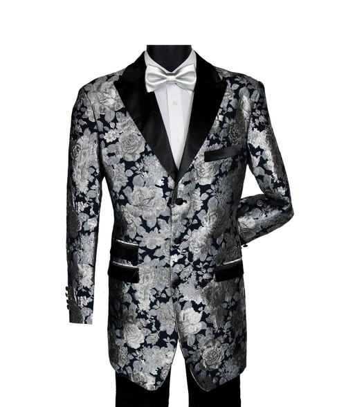 "Blu Martini and Afternoon MidNite High fashion Black and Silver Floral 3 Button Peak Lapel 35"" Jacket with solid black flat front pants.     The 9284-911 Sax T Duo Black/Silver Floral Peak Lapel Men's Fashion Suit by Blu Martini    - 35 "" Suit Jacket             - Single Breasted Jacket  - 3 Button  - Peak Lapel                                                          - Flat Front Pants  - Metallic Paisley Poly Blend  - Dry Clean  - 9284-911 Sax T Duo Black/Silver   Unique casual elegance at reasonable prices.  A relaxed modern fit for the new generation.  Blu Martini is a smart look, a step above the ordinary with emphasis on casual sophistication for the person who is a fashion leader.  Suits, outerwear, blazers and vest sets with European inspired fabrications add to the excitement of the BluMartini collection!"