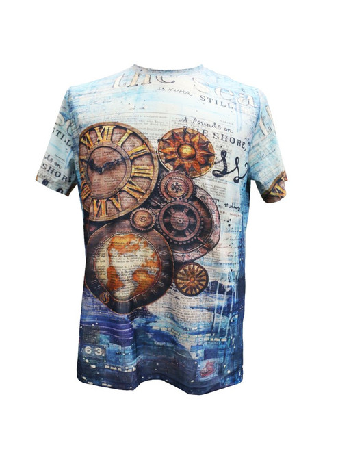 This T-shirt features unique mixed prints of Newspaper and Industrial Clocks on the front and the back. Pair it with jeans and boots or dress it up with a Suit jacket.   Trim Fit Printed Available in big and tall sizes TS208 Air Dry Only