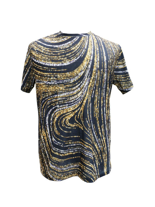 BROOKLYN 1991 | THE MIXED METALS T-SHIRT BY STEVEN LAND  This black T-shirt  features beautiful gold and silver sequins printed on the front and the back. Pair it with jeans and loafers or dress it up with a blazer.   Trim Fit Printed Available in big and tall sizes TS202 Air Dry Only