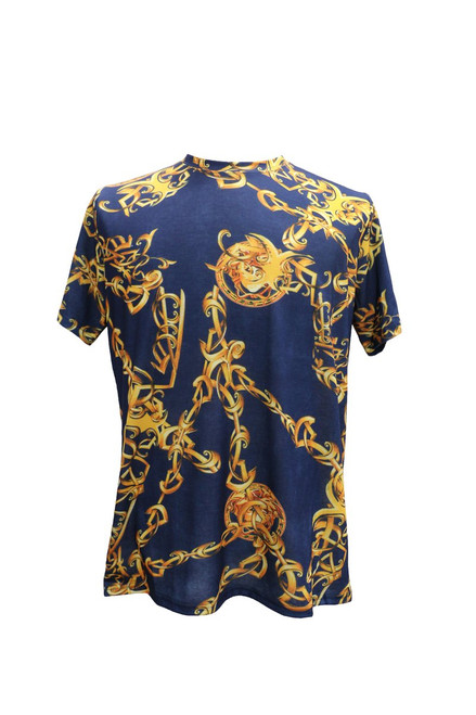 This gold and blue T-shirt  features  beautiful gold chains printed on the front and the back. Pair it with jeans and sneakers or dress it up with a blazer.  Trim Fit Printed TS201 Air Dry Only