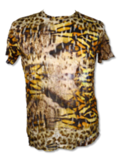 BROOKLYN 1991 | EYE OF THE TIGER T- SHIRT BY STEVEN LAND  This animal print T-shirt  features a stylish shredded wholes all over . Pair it with jeans, khakis, or dress it up with a blazer / fur coat.  Trim Fit Printed TS95 Air Dry Only