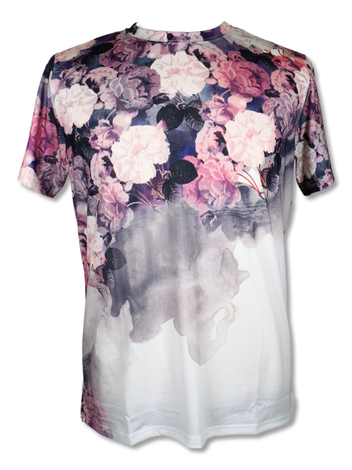 BROOKLYN 1991 | BALLIN FLORAL T-SHIRT BY STEVEN LAND  This European designer inspired T-shirt  features multi color florals running across the chest and back. Pair it with jeans, khakis, or dress it up with a blazer.  Trim Fit Printed TS91 Air Dry Only