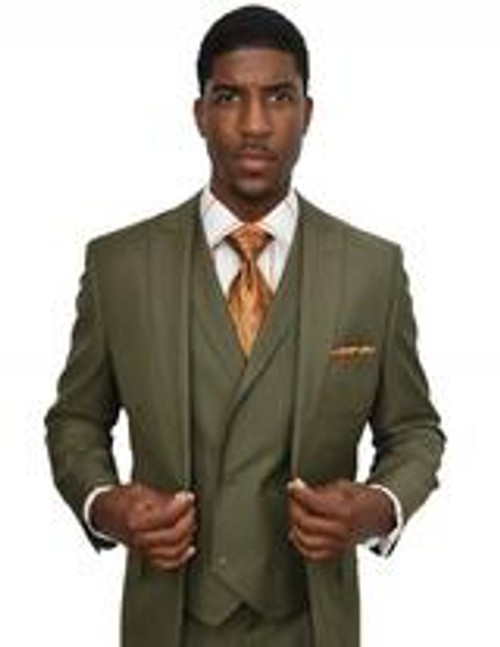 FEATURING A SINGLE BUTTON JACKET AND DOUBLE BREASTED VEST, WALTER'S SUIT PIECES CAN BE WORN TOGETHER FORMALLY OR SEPARATELY MIXED AND MATCHED WITH MORE CASUAL ITEMS.  Classic Fit Olive green Color Single button jacket with peak lapel Double vent back 4 x 2 Double breasted vest with notch lapel Single pleat pant