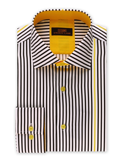 "This non-traditional striped dress shirt is truly one of a kind. The ""surprised"" contrast colored stripe will keep everyone around you guessing. Featuring a super soft cotton sateen fabric that will get you through the day/ night.   Also Available In Blue, Brown, and Plum  Color Black with Yellow Contrast Stripe 100% Cotton Sateen Woven fabric Traditional Collar Convertible Cuff Contrast Color Trim Tie Sold Separately DS2017"