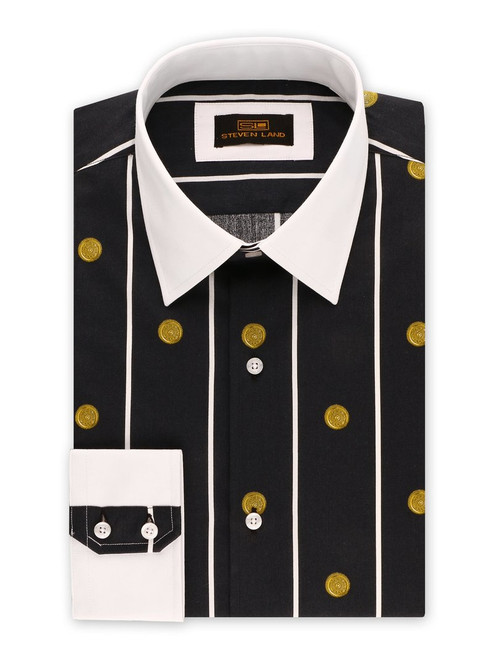 STEVEN LAND | GREEK MEDALLION DRESS SHIRT  This one of a kind all over medallion shirt is inspired by the pendants the Greek Gods worn in the 18th Century. Featuring thin vertical stripes, a solid collar, and a novelty barrel cuff for the ultimate Greek god look.    Also Available In Blue and Lavender  Color Black 100% Cotton Sateen Printed Fabric Traditional Collar Novelty Barrel Cuff Novelty buttons Tie Sold Separately DS2033