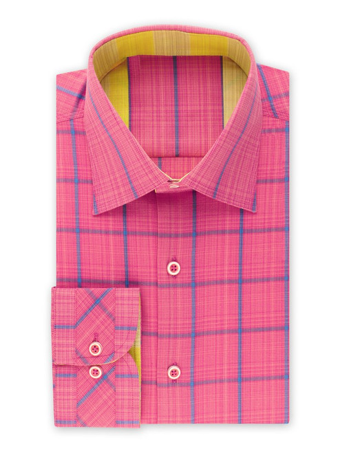 "STEVEN LAND | NOVELTY CHECKED SHIRT   A novelty Fuchsia shirt with faded blue checks in a soft stretchy cotton material with a traditional collar, contrast trim and a novelty convertible cuff . A classic fit with good room for movement over the shoulders and chest, with a comfortable, tailored silhouette. Made in Turkey. This shirt is perfect to wear on a everyday basis or top it off with a blazer for a more ""creative director"" look.   Also Available In Yellow  Color Fuchsia  stretch fabric  100% Cotton Woven fabric Made in Turkey Traditional Collar Novelty Convertible Cuff Contrast Color Trim DS2021"