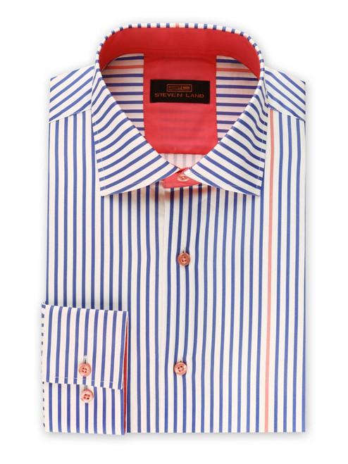 "STEVEN LAND | STRIPE SURPRISE DRESS SHIRT  This non-traditional striped dress shirt is truly one of a kind. The ""surprised"" contrast colored stripe will keep everyone around you guessing. Featuring a super soft cotton sateen fabric that will get you through the day/ night.   Also Available In Black, Brown, and Plum  Color Blue with Pink Contrast Stripe 100% Cotton Sateen Woven fabric Traditional Collar Convertible Cuff Contrast Color Trim Tie Sold Separately DS2017"