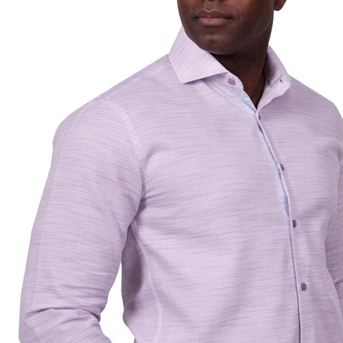 STEVEN LAND   MICRO WAVES DRESS SHIRT   Keep it clean in the Micro Waves Shirt. Featuring a fresh contrast trim, wide spread collar and a convertible cuff. Great for work or play, this dress shirt promises polished style.   Also Available In Blue and Burgundy  Color Purple 100% Cotton woven fabric Wide Spread Collar Convertible Cuff Contrast Color Trim Tie Sold Separately DS2013