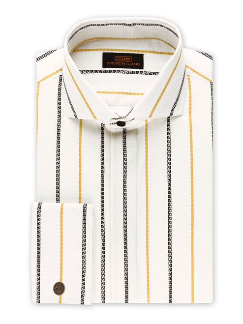 STEVEN LAND   GREEK KEY DRESS SHIRT  This Greek Key Pattern shirt is inspired by Greek Architecture from the 18th Century, featuring thin vertical chains and the Greek key motif. This shirt Can be worn with a suit for a high fashion look or with jeans for a Business casual vibe.   Also Available In Lavender and Blue  Color Peach 100% Cotton Sateen Printed Fabric Wide Spread Collar Includes New Signature Brand Metal Cufflinks  Tie Included  French Cuff DS2034