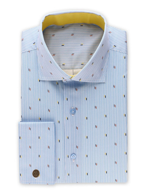 STEVEN LAND | NAUTICAL SPECKS STRIPE DRESS SHIRT  Made from pure sateen cotton for lasting comfort, with a nautical stripe pattern with small contrast specks for a dressy vibe.This shirt is perfect for the office or your next event.  Also Available In Black and Burgundy.  Color Blue 100% Cotton Sateen  fabric Traditional Solid Color Collar Includes New Signature Brand Metal Cufflinks  French Cuff Tie Sold Separately DS2030