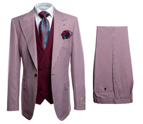 3 Piece Suit - Jacket, Pants and Vest Double Breasted Vest 2 Side Vents on Jacket 1 Button Jacket Peak Lapel Single pleat Pants Regular Fit Burgundy    Proud to have such a long and rich heritage, Rossi Man has been suiting and booting up men for generations. Rossi Man combines contemporary fit and fashionable colors with patterns and styles for the modern gentlemen.  As a brand, Rossi Man inspires and guides; whatever the occasion, customers always look and feel exquisite. Rossi Man offers in-depth suiting expertise and knowledge while adapting to the latest fashion trends.