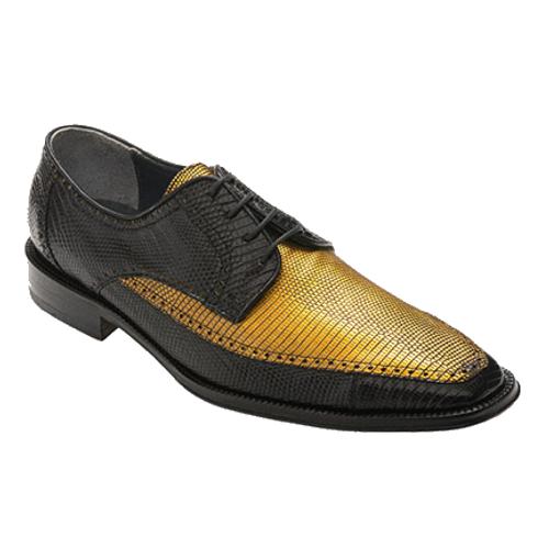 """Guam"" by David X. A Two- Toned genuine lizard shoe in Black/Gold"