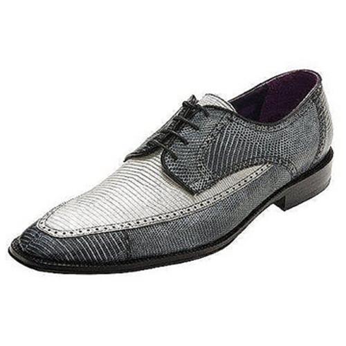 """Guam"" by David X. A Two- Toned genuine lizard shoe in Silver/Gray"