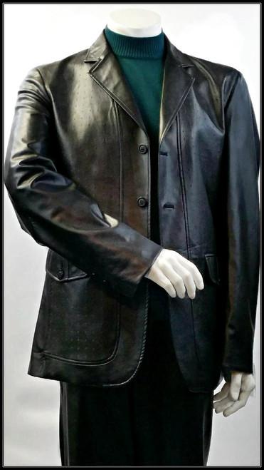 Blu Martini 3 Button Vegan Leather Blazer in Black. Prices are exclusive to online sales.