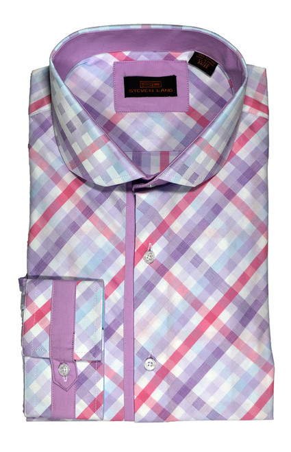 Steven Land Dress shirt 100% Cotton DA1630 Purple Style. Prices are exclusive to online sales.