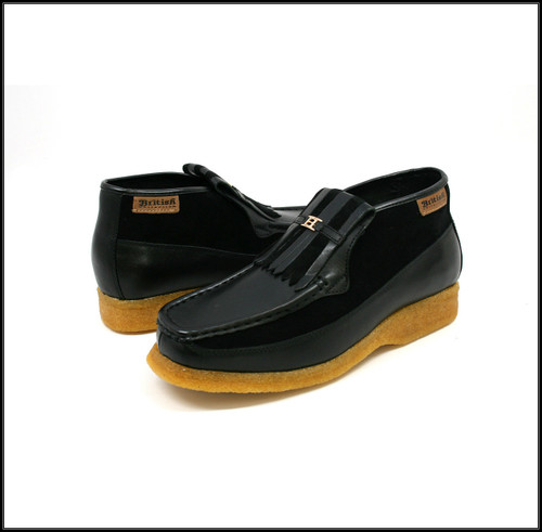 British Collection Apollo-BlackLeather/Black Suede Slip-on