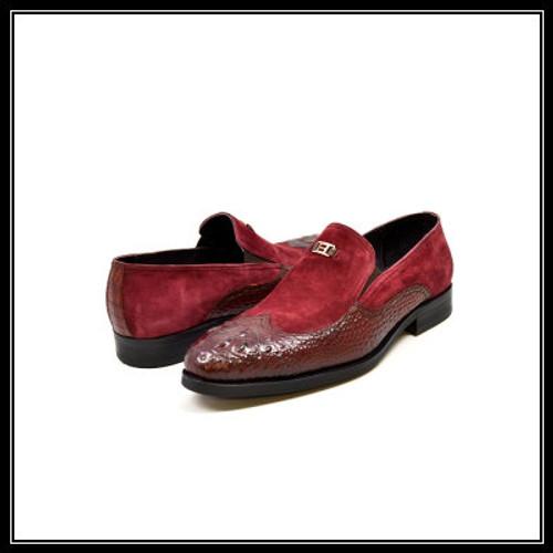 "British Collection ""Shiraz"" Bordo Croc Leather and Suede"