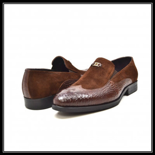 """British Collection """"Shiraz"""" Brown Croc Leather and Suede"""