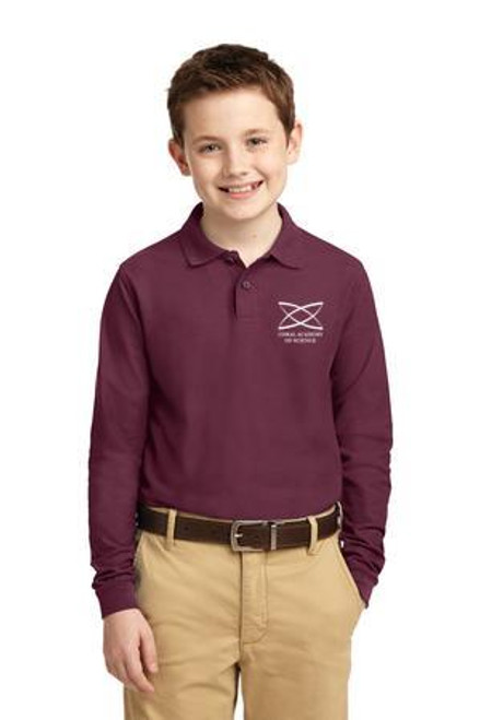 Elementary - Youth Long Sleeve Polo Burgundy